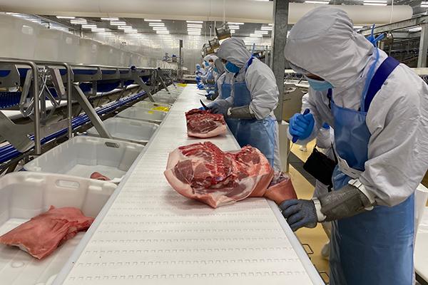 Chế biến thịt heo mát tại tổ hợp chế biến thịt MEATDeli Sài Gòn của Tập đoàn Masan đầu tư ở Long An trị giá 1.800 tỉ đồng - Ảnh: TRẦN VŨ NGHI